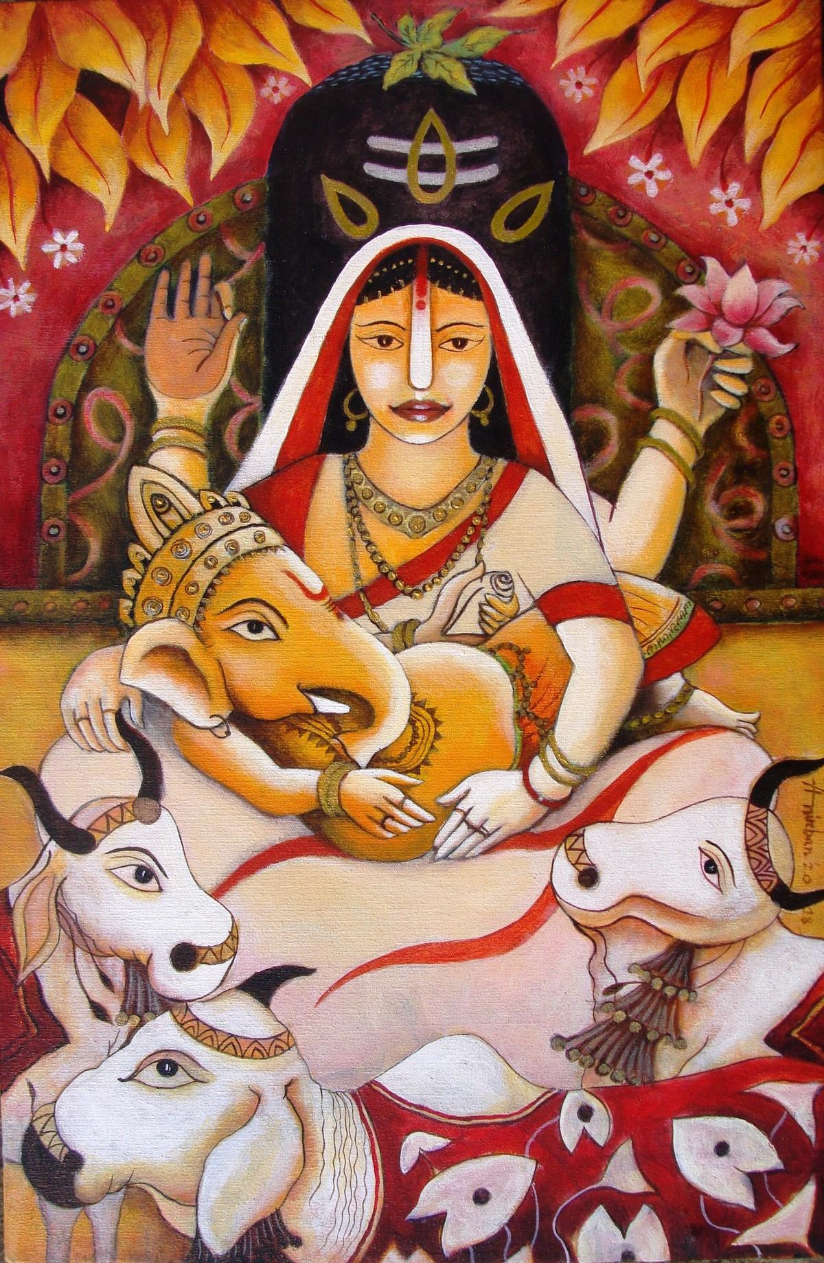 Happy Family Digital Print by Anirban Seth,Expressionism