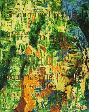 Madness by Ranu Tayal, Abstract Painting, Acrylic & Ink on Canvas, Green color