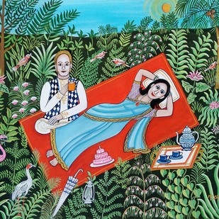 Well prepared by Nayanaa Kanodia, Naive Painting, Mixed Media on Paper, Green color