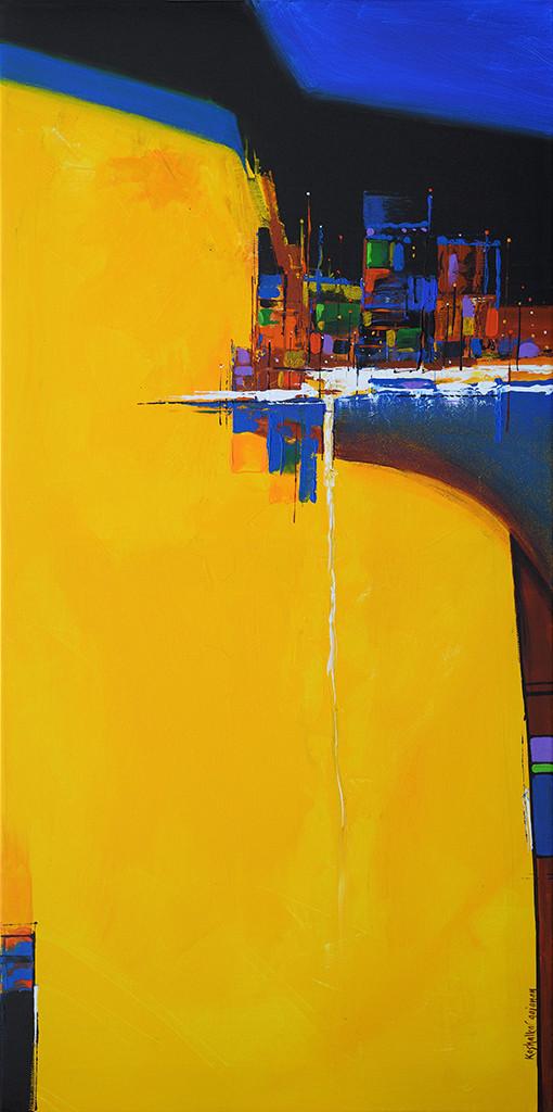 City Lake by Gajanan Kashalkar, Abstract Painting, Acrylic on Canvas, Yellow color