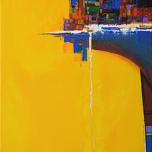 City Lake by Gajanan Kashalkar, Abstract Painting, Acrylic on Canvas, Yellow color