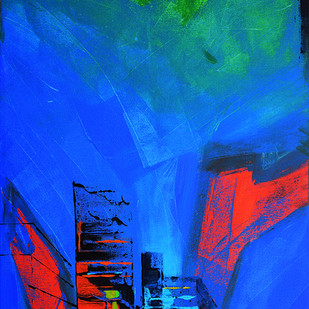 Untitled by Gajanan Kashalkar, Abstract Painting, Acrylic on Canvas, Blue color