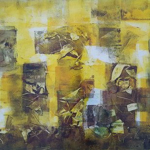 Untitled 2 by Jaiprakash Chouhan, Abstract Painting, Oil on Paper, Beige color
