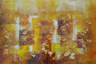 Untitle 3 by Jaiprakash Chouhan, Abstract Painting, Oil on Paper, Brown color