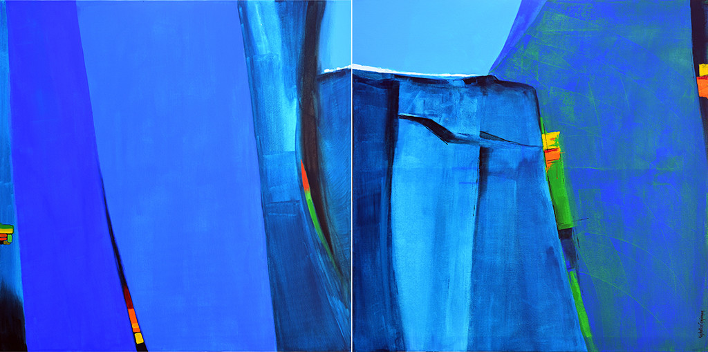 Blue Mountain by Gajanan Kashalkar, Abstract Painting, Acrylic on Canvas, Blue color