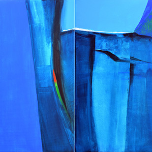 Blue Mountain by Gajanan Kashalkar, Abstract Painting, Acrylic on Canvas, Blue color