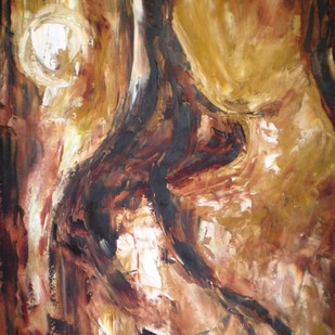 Waiting In the Moonlight by Deepa Kern, Abstract Painting, Oil on Canvas, Brown color