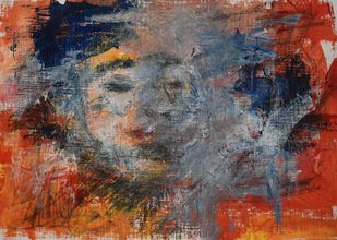 Embrace the shadow by Rinden, Abstract Painting, Mixed Media on Paper, Brown color