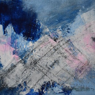 Peak by Rinden, Abstract Painting, Mixed Media on Paper, Blue color