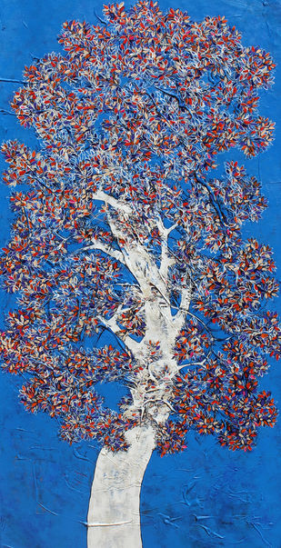 tree of life by Bhaskara Rao Botcha, Expressionism Painting, Acrylic on Canvas, Blue color