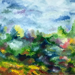 English Countryside by Tvesha Singh, Abstract Painting, Oil on Canvas Board, Green color