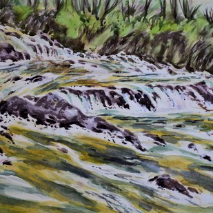 River Teestha by Kannan Ananthasubramani, Image Painting, Watercolor on Paper, Gray color