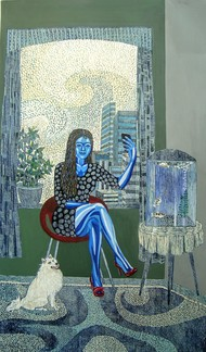 Selfie time by Subhamita Sarker, Expressionism Painting, Mixed Media, Green color