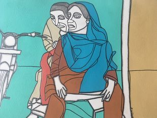 Can't help falling in Love. by Amrit Khurana, Expressionism Painting, Acrylic on Paper, Cyan color