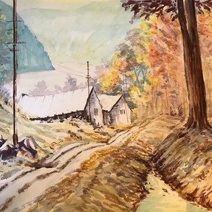 Autumn Fall on banks of Teestha by Kannan Ananthasubramani, Impressionism Painting, Watercolor on Paper, Brown color