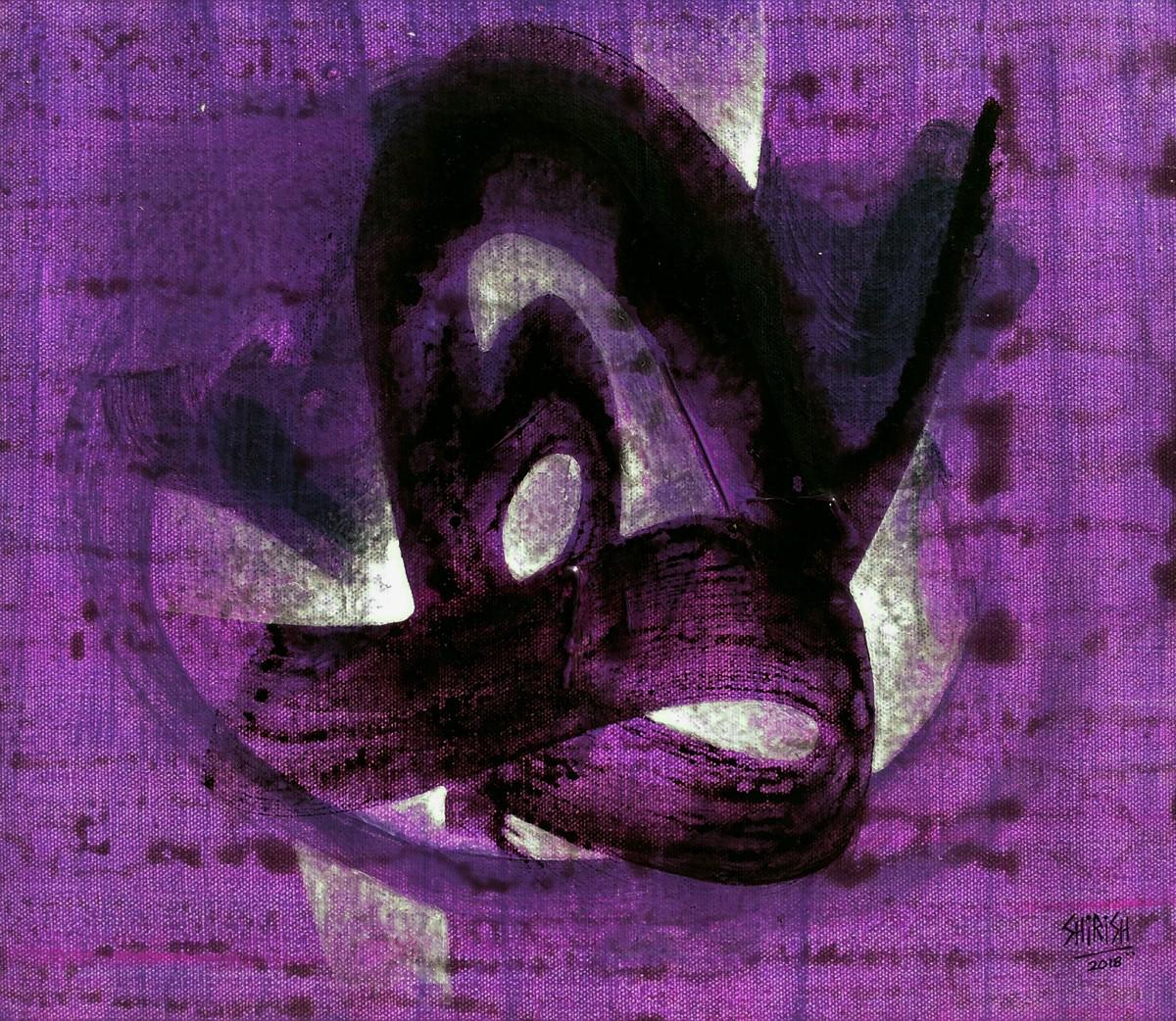 Tandav-02 by Shirish Deshpande, Abstract Painting, Acrylic on Canvas, Purple color