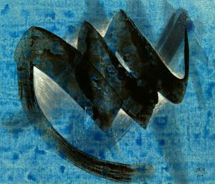 Tandav-03 by Shirish Deshpande, Abstract Painting, Acrylic on Canvas, Blue color