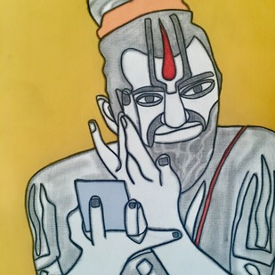 Bhole Baba by Amrit Khurana, Expressionism Painting, Acrylic on Paper, Beige color