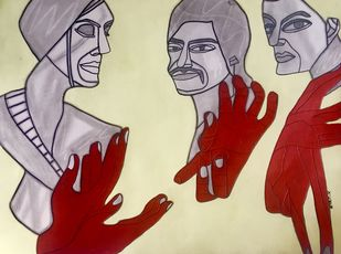Encase my Soul by Amrit Khurana, Expressionism Painting, Acrylic on Paper, Brown color