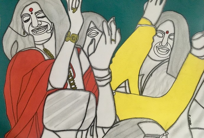 Mast Magan by Amrit Khurana, Expressionism Painting, Acrylic on Paper, Beige color