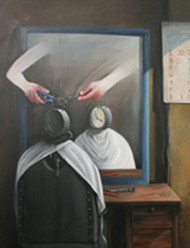 Time Saloon by Sajal Patra, Surrealism Painting, Acrylic on Canvas, Gray color