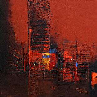 city reflection by Gajanan Kashalkar, Abstract Painting, Acrylic on Canvas, Brown color