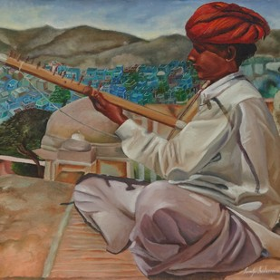 RAJASTHANI FOLK MUSIC by Ramya Sadasivam, Expressionism Painting, Oil on Canvas, Brown color