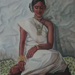 Embelished Indian Tribal Woman by Ramya Sadasivam, Expressionism Painting, Oil on Canvas, Gray color