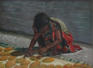 Girl Preparing Pappad by Ramya Sadasivam, Painting, Oil on Canvas, Gray color