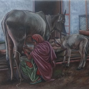 Milking The Cow by Ramya Sadasivam, Expressionism Painting, Oil on Canvas, Gray color