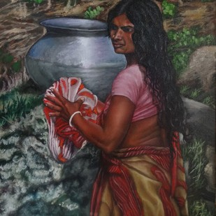 Woman With Anda by Ramya Sadasivam, Expressionism Painting, Oil on Canvas, Brown color