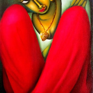 RUPASI by Pintu Paul, Traditional Painting, Oil & Acrylic on Canvas, Red color