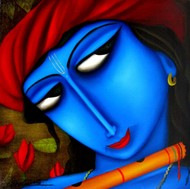 KRISHNA by Pintu Paul, Expressionism Painting, Oil & Acrylic on Canvas, Blue color