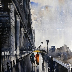 Howrah Bridge by Krishnendu Chatterjee, Impressionism Painting, Watercolor on Paper, Gray color