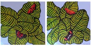 Colors of Nature (Diptych) by Sreya Gupta, Abstract Painting, Mixed Media on Canvas, Green color