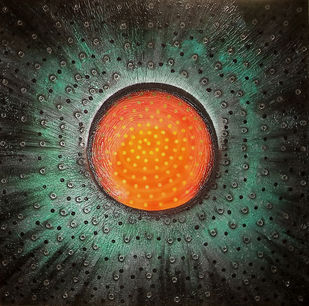 circles moving in sqire by vennimalai, Conceptual Painting, Acrylic on Canvas, Green color