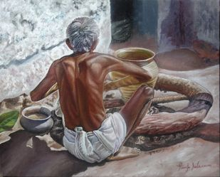Man Making Pot by Ramya Sadasivam, Expressionism Painting, Oil on Canvas, Brown color