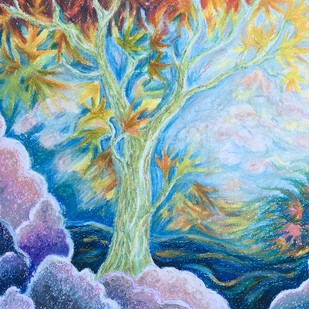Dreamscape by Shalini Sinha, Expressionism Painting, Oil Pastel on Paper, Cyan color