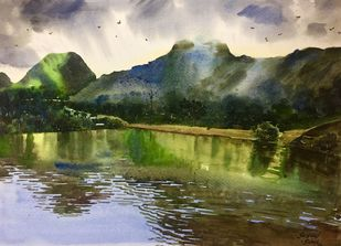 Reflection by Sayyad Sohel, Impressionism Painting, Watercolor on Paper, Green color