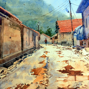 After Rain by Sohel Sayyad , Impressionism Painting, Watercolor on Paper, Green color