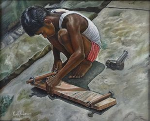 Boy Making Skateboard by Ramya Sadasivam, Expressionism Painting, Oil on Canvas, Gray color