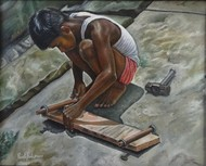 Boy Making Skateboard by Ramya Sadasivam, Expressionism Painting, Oil on Canvas, Gray color