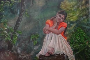 Girl In Orange Dress by Ramya Sadasivam, Expressionism Painting, Oil on Canvas, Green color
