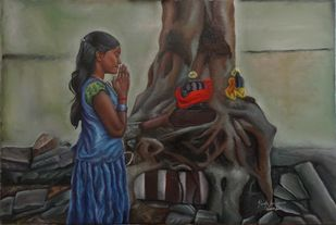 A Small Girls Sincere Prayer by Ramya Sadasivam, Expressionism Painting, Oil on Canvas, Brown color