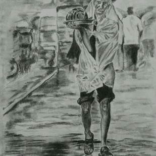 SURVIVAL by Reshma M, Impressionism Drawing, Charcoal on Canvas, Gray color