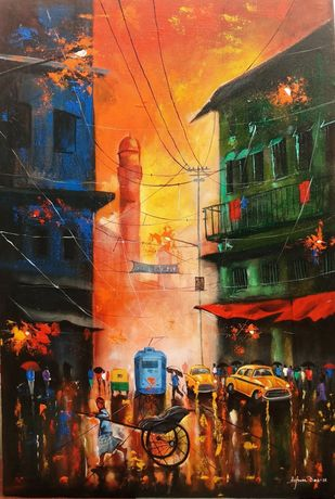 Rainy day#9 by Arjun das, Impressionism Painting, Acrylic on Canvas, Brown color