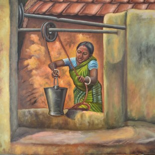 Woman Fetching Water by Ramya Sadasivam, Expressionism Painting, Oil on Canvas, Brown color