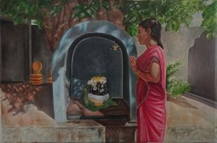 A Woman Praying To Pillaiyar by Ramya Sadasivam, Expressionism Painting, Oil on Canvas, Brown color