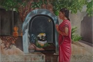 A Woman Praying To Pillaiyar by Ramya Sadasivam, Expressionism Painting, Oil on Canvas, Brown color
