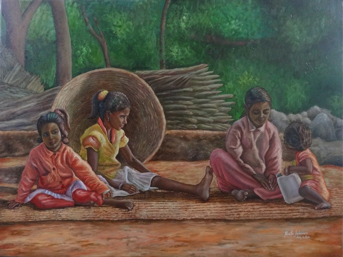 Childrens Happiness by Ramya Sadasivam, Expressionism Painting, Oil on Canvas, Brown color